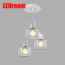Creative restaurant bar children room bedroom single head droplight resin Nordic modern glass birds