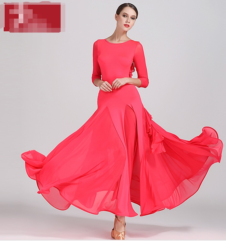 Show details for Ballroom Dance Competition Dresses  High Quality Long Sleeve Flamenco Skirt Women Stage Ballroom Dress Red Green Yellow S9035
