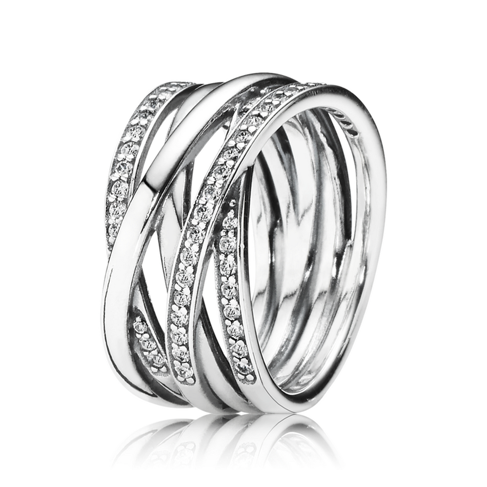 Authentic S925 Sterling Silver Ring for Women Entwined Ring Clear CZ Girl Gift Fine fit Lady Jewelry