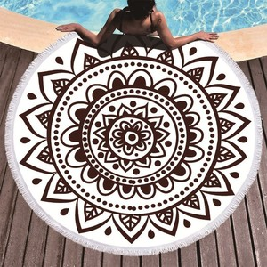 Image 1 - Boho Mandala Microfiber Round Beach Towels Summer Roundie Beach Towel Large 150cm Outdoor Sports Travel Yoga Tapestry Bath Towel