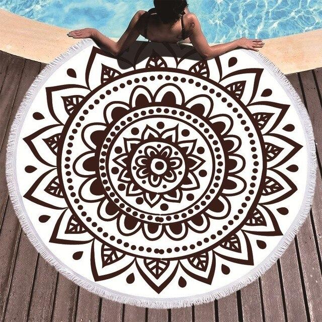 Boho המנדלה מיקרופייבר עגול חוף מגבות קיץ Roundie חוף מגבת גדולה 150 cm חיצוני ספורט נסיעות יוגה שטיח אמבטיה מגבת