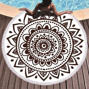 Image 1 - Toallas de playa redondas de microfibra con Mandala Boho, toalla de playa redonda de verano, toalla de Playa Grande de 150 cm, Toalla de baño con tapiz de Yoga para deportes al aire libre