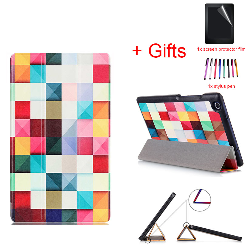 PU Leather Case Flip Protective Cover For Lenovo Tab3 Tab 3 8(TB3-850M/F) & Tab2 Tab 2 A8-50 Universal Funda case+film+stylus 2016 newest litchi grain stand pu leather case for lenovo tab 3 7 0 710 essential tab3 710f tablet case flip cover film stylus
