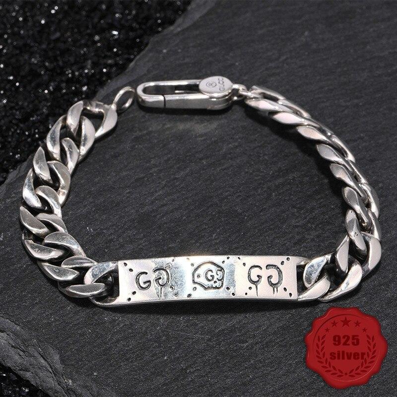 100% S925 bracelet en argent sterling personnalité simple bijoux rétro mode crâne lettre modélisation étudiant offre spéciale Bracelets