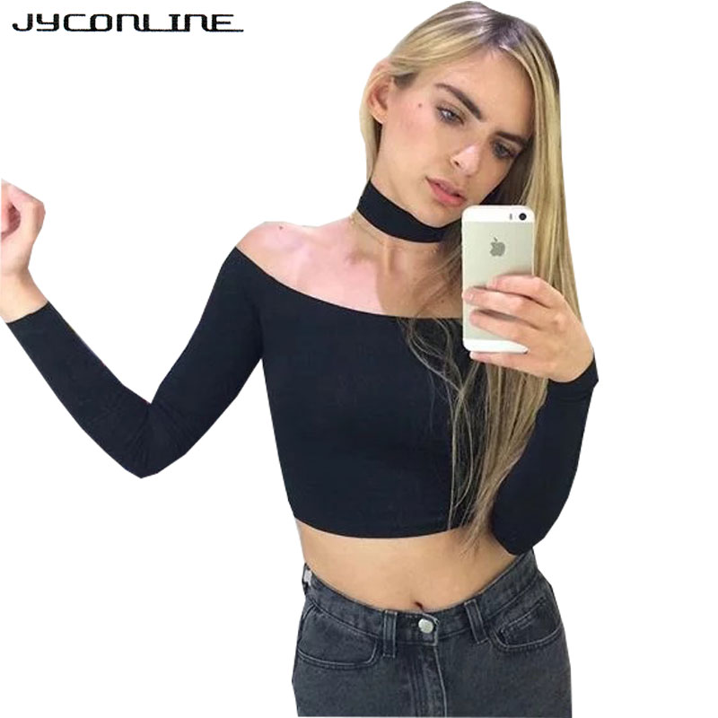JYConline <font><b>Sexy</b></font> <font><b>Off</b></font> <font><b>Shoulder</b></font> T-shirt <font><b>Women</b></font> Cropped Tops Long <font><b>Sleeve</b></font> Halter Top Tees Shirts Female Harajuku T-shirts For <font><b>Women</b></font> image