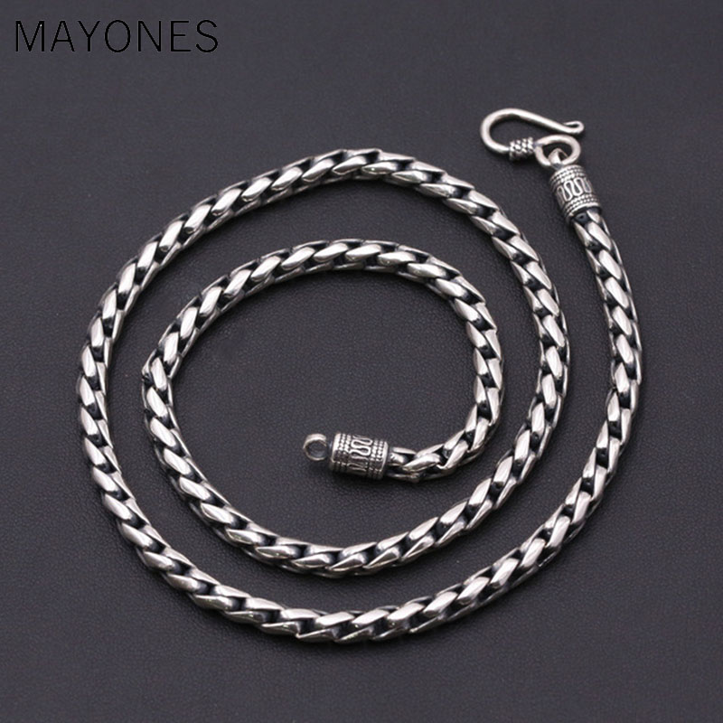 5mm 100% 925 Sterling Silver Men Necklace Trendy Punk Style Thai Silver Link Chain Male Keel Necklace Fashion Jewelry 5mm 100% 925 Sterling Silver Men Necklace Trendy Punk Style Thai Silver Link Chain Male Keel Necklace Fashion Jewelry