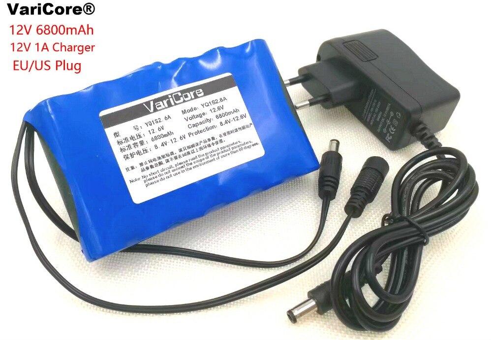 VariCore Portable Super 18650 Rechargeable Au Lithium Ion batterie capacité DC 12 V 6800 Mah CCTV Cam Moniteur 12.6 V 1A chargeur