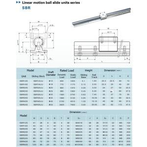 Image 5 - 2pcs SBR16 16mm ינארית רכבת מדריך 300 400 500 600 1000 1200 1500 mm באופן מלא שקופיות תמיכה + 4pcs SBR16UU ינארית Bearing בלוק