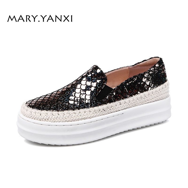 Spring/Autumn Women Shoes Genuine Leather Flats Loafers Flat Platform Casual Fashion Round Toe Slip-On Bling Fish scales spring autumn fashion men high top shoes genuine leather breathable casual shoes male loafers youth sneakers flats 3a
