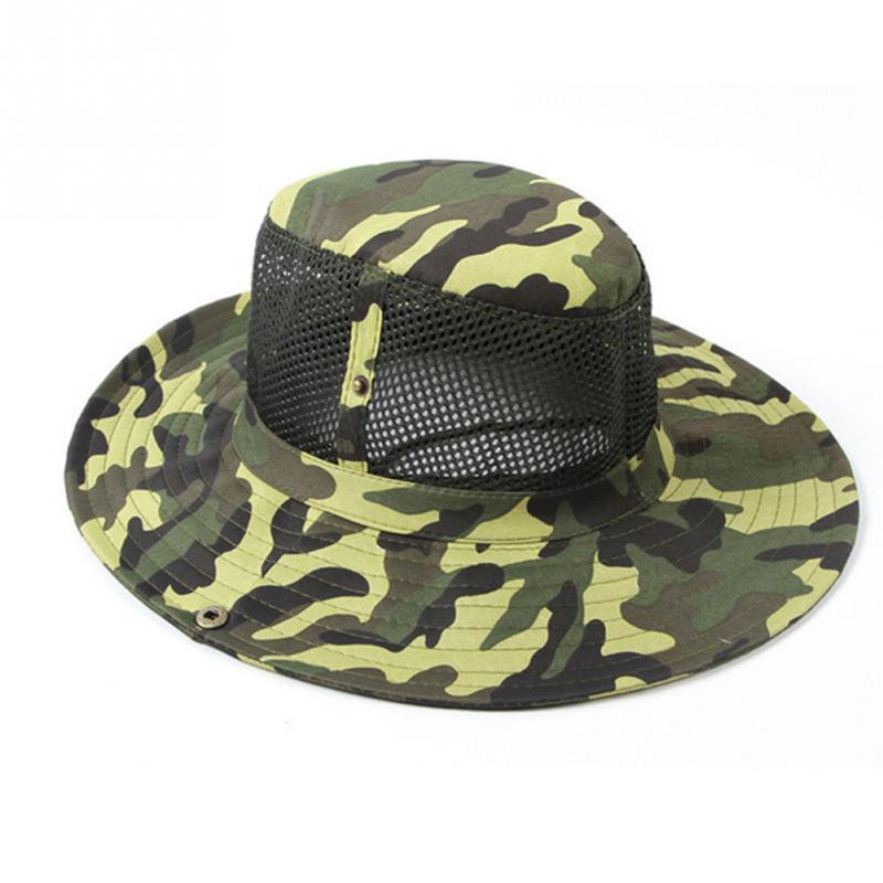 44b00e2e9be61 Outdoor Sports Men   Women s Fishing Hat Camouflage Bucket Hat Fisherman  Camo Ripstop Jungle Bush Hats Boonie Wide Brim Sun Caps-in Fishing Caps  from Sports ...