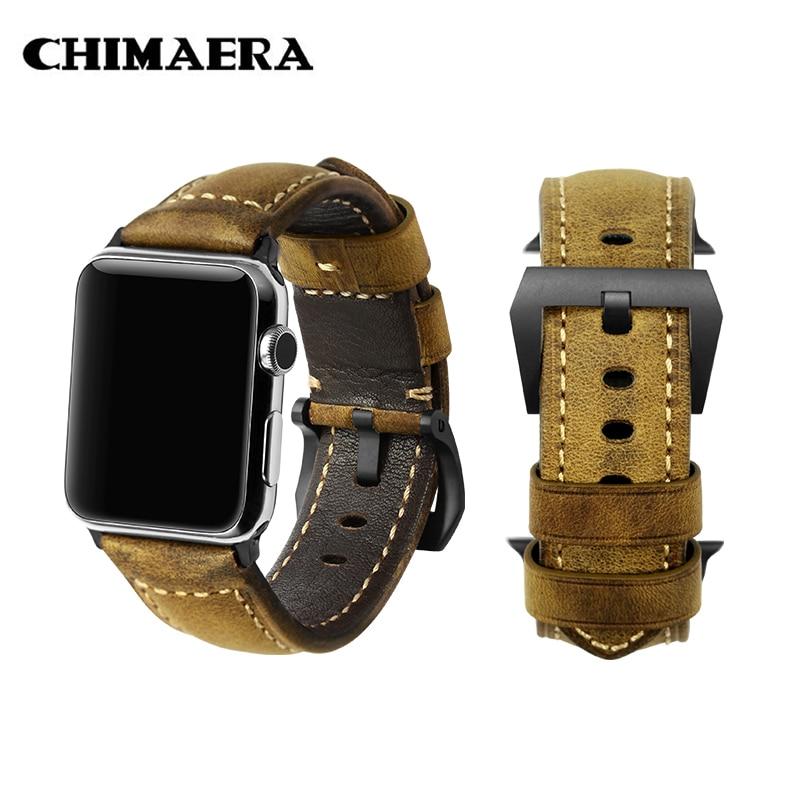 все цены на CHIMAERA Vintage Genuine Leather Sport for Iwatch Watch Strap Series1 2 3 Bracelet Mens for Apple Watch Band 42mm 38mm онлайн