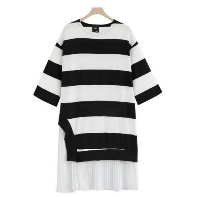 Spring autumn maternity clothes Large size womens stripe knit chiffon dress hem stitching Pregnant women knee-length skirt