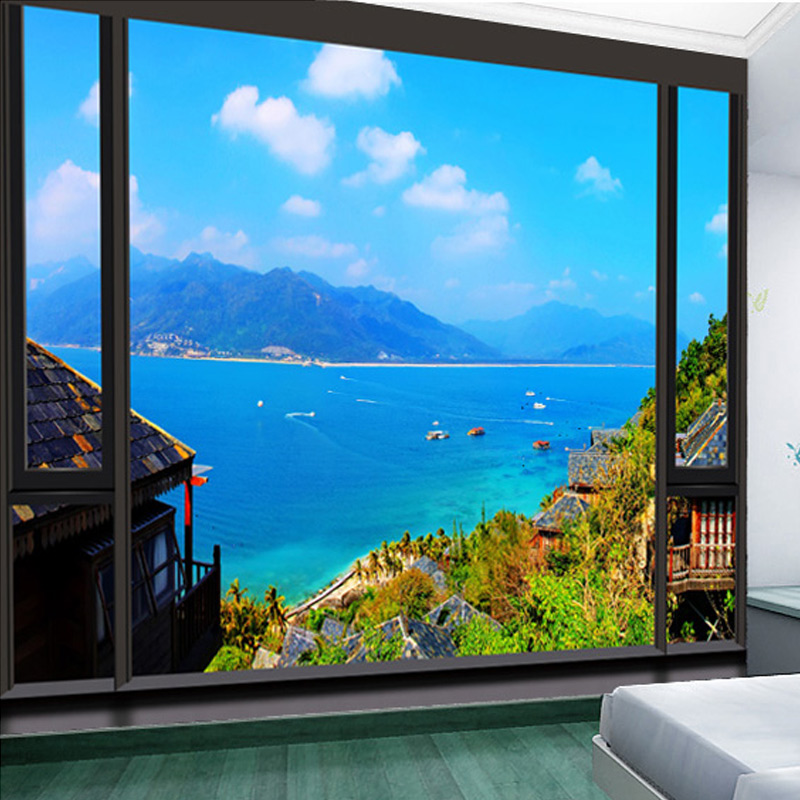 Custom 3D Photo Wallpaper Window Views Wall Mural Modern City Building Beach Wallpaper Living Room Bedding Room Wall Decor Paper