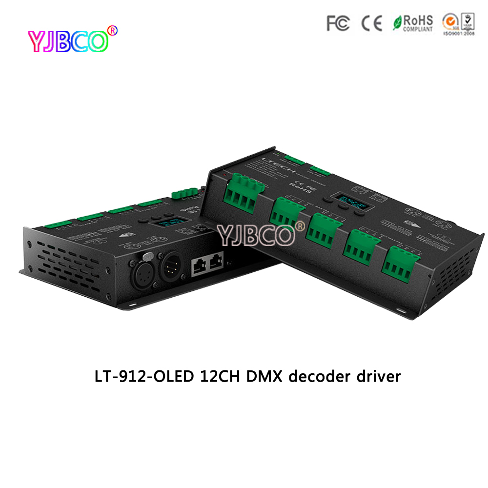 LT-912-OLED 12 channel DMX decoder driver;DC12-24V 4A*12CH 12 Channel output RGB/RGBW Led DMX Decoder Controller XLR-3/RJ45 24ch 24channel easy dmx512 dmx decoder led dimmer controller dc5v 24v each channel max 3a 8 groups rgb controller iron case