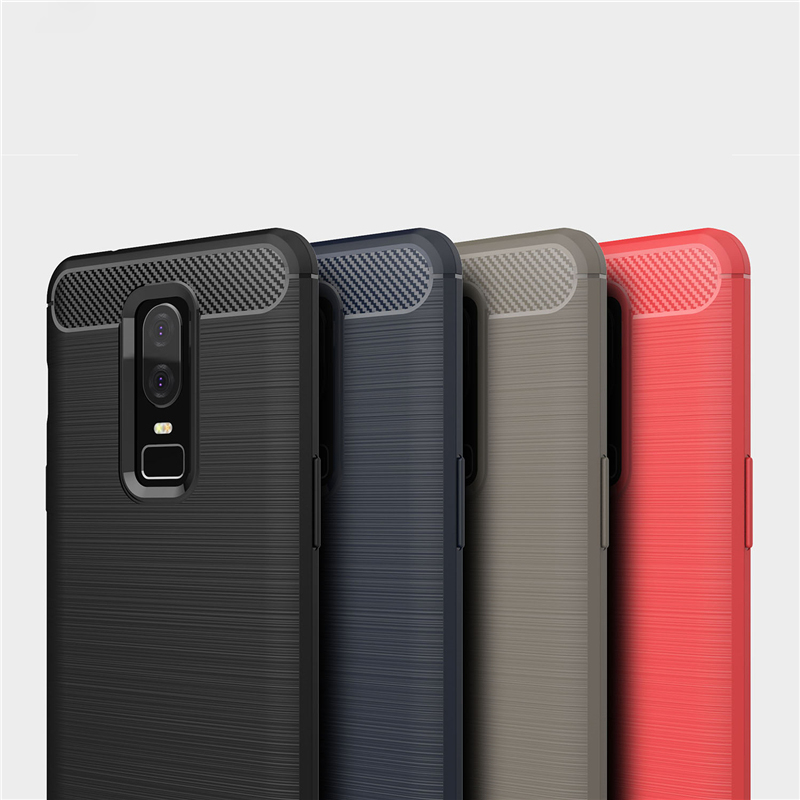 09071dccb0c For Oneplus 6 case Luxury Slim Soft Silicone Case For oneplus6 back bumper  Brushed Carbon Fiber for one plus 6 Phone Cover case