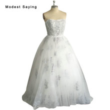 Real Romantic Ball Gown Ivory and Grey Applique Lace Wedding Dresses 2017 vestidos de noiva Puffy