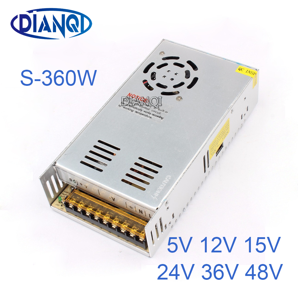DIANQI 15V Switching Power Supply 360w 5V 12V ac to dc converter  transform for LED strip 24V 36V 48V S-360 1200w 12v 100a adjustable 220v input single output switching power supply for led strip light ac to dc