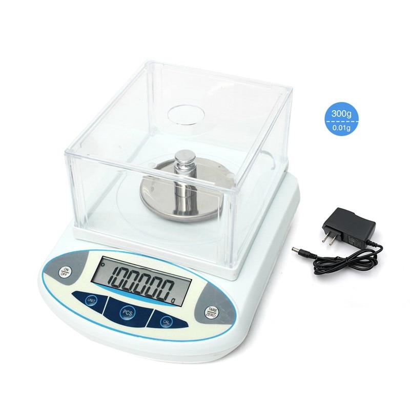 Balance analytique de laboratoire LCD 300g 0.01g AC100-240V Balance de précision numérique Balance de bijoux de précision Balance électronique Balance de poids