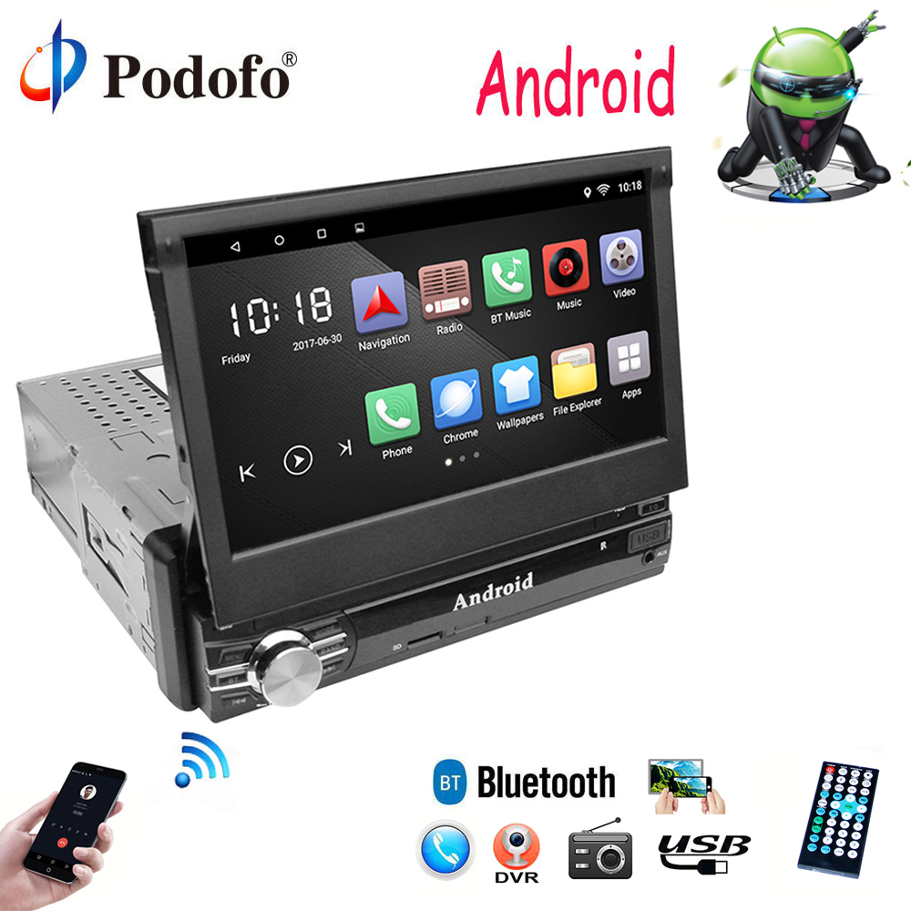 podofo 1 din car radio 7 hd autoradio android 6 0. Black Bedroom Furniture Sets. Home Design Ideas