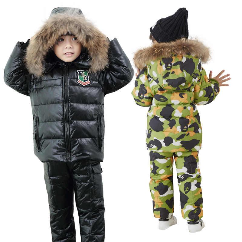 Los niños de invierno traje de chaqueta de dos piezas niño y niña chaqueta babero-30 invierno excursión de esquí traje engrosado abajo de la chaqueta