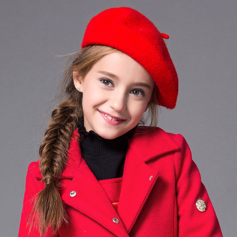 Kids Beret Hat Cap Wool Girls Black Winter Cute Red 2to8-Years-Old