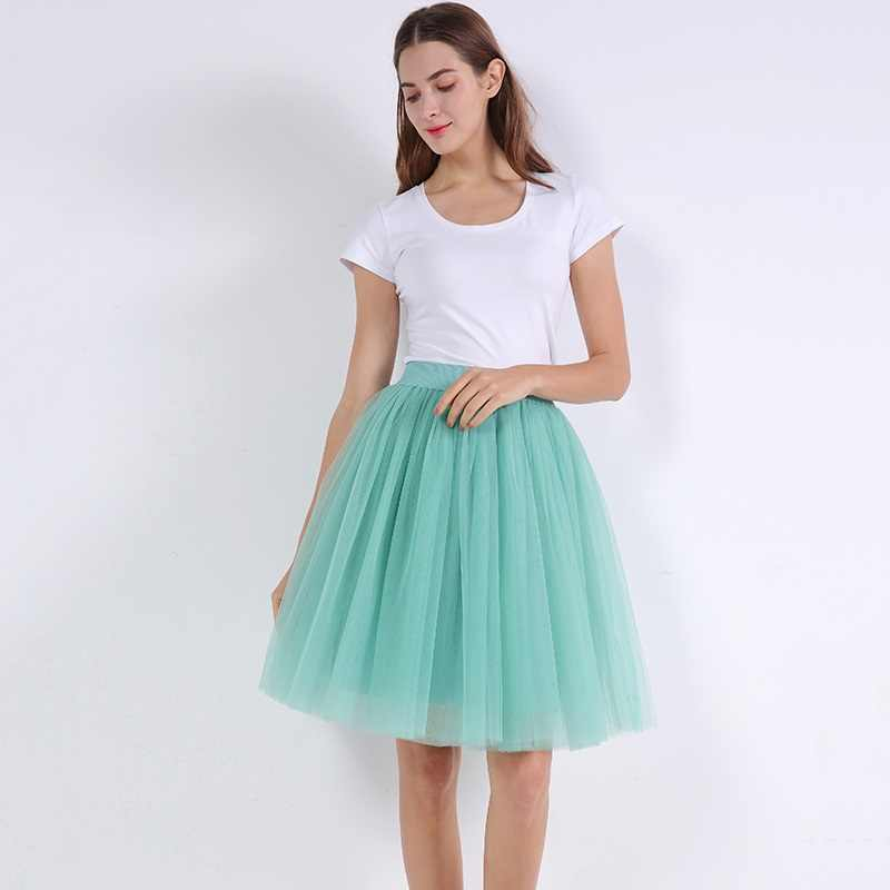 Party Train Puffy 5Layer 60CM Fashion Women Tulle Skirt Tutu Wedding Bridal Bridesmaid Overskirt Petticoat Lolita Saia 2019