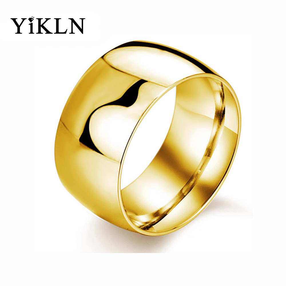 YiKLN 316L Stainless Steel Ring Gold/White/Black Color Fashion Wide Men's Ring Wedding Engagement Rings Jewelry Anel OGJ318