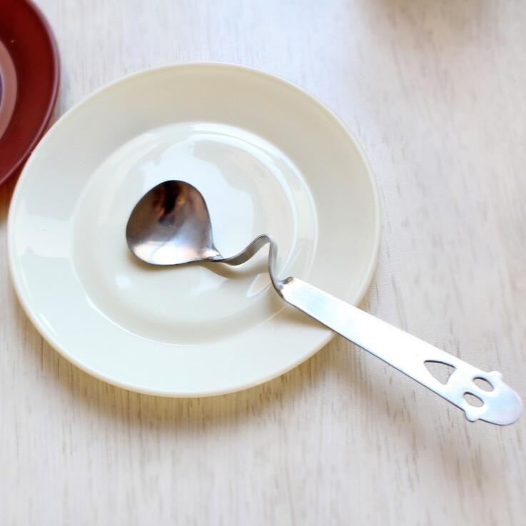 Korean Stainless Steel Smile Coffee Dessert Crooked Spoon Long