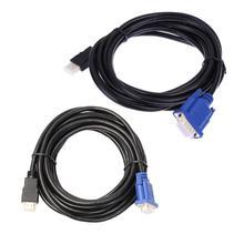 3 m/5m HDMI altın erkek VGA HD erkek 15Pin 1080P HDTV dönüştürücü kablosu kablosu tel hattı HDTV için