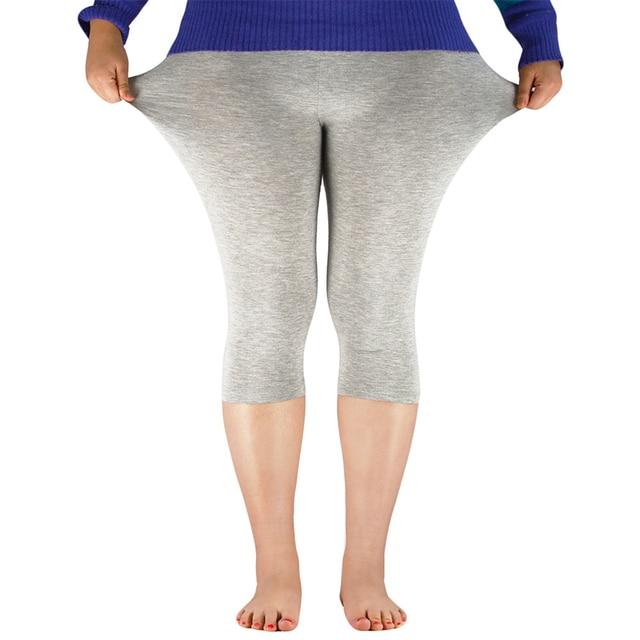 2019 Solid Leggings Women Fashion High Waist Workout Bamboo Fiber Leggings Jeggings Plus Size Leggings Trousers For Women 7XL 4