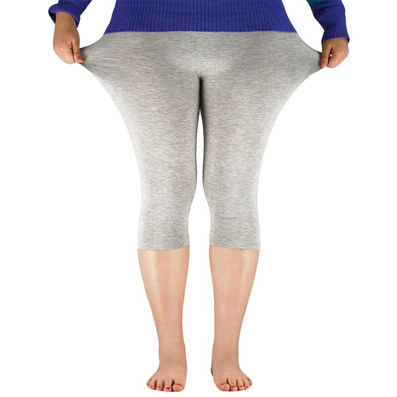 Plus Size Women's Mid-Calf Leggings Bamboo Fiber Capri Legging High Stretchy Leggings Workout Pants High Quality Basic Leggings