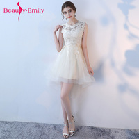 Beauty Emily New Evening Dress Black With Khaki Color Lace short formal dress prom dress 2018 Prom Party Gowns vestido de festa