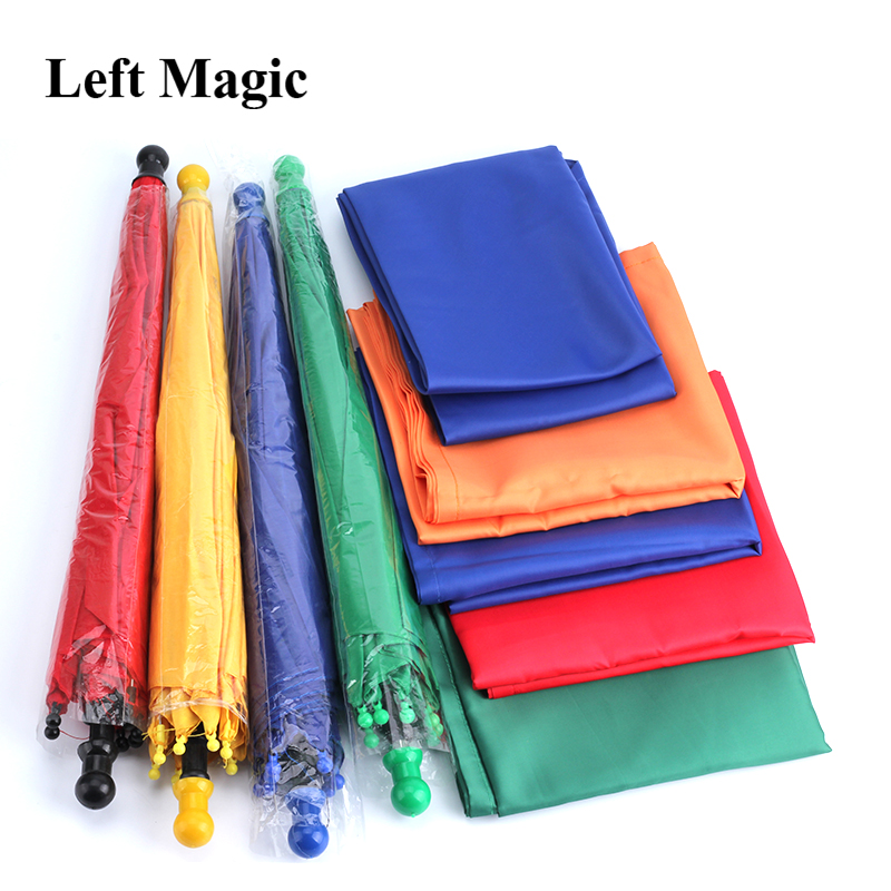 Silk To 1 Set Four Umbrellas Magic Tricks Scarves Magia Magician Stage Illusion Gimmick Prop Funny Mentalism Classic Toys