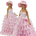 Princess Evening Party Clothes Dress Outfit Set Multi Layers Gown for Barbie Doll with Hat Perfect Children Christmas Gift