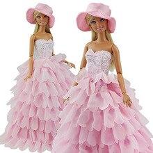 Prinzessin Abendgesellschaft Kleider Kleid Outfit Set Multi Schichten Kleid für Barbie-puppe mit Hut Perfekte Kinder Weihnachtsgeschenk