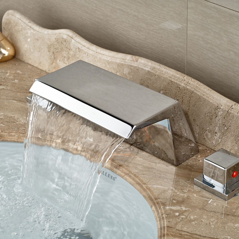 Wholesale And Retail Luxury Style Bathroom Basin Faucet Tub Mixer Tap Waterfall Spout W/ Square Dual Handles Deck Mounted