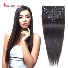 Straight Clip In Human Hair Extensions 18inch 100gram Brazilian Virgin Human Hair Clip In Extensions Follow Me Hair Extensions