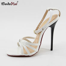 Wonderheel New ultra high heel appr. 14cm thin heel ankle strap pointed toe Sexy High Heel fashion women sandals big size(China)