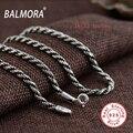 BALMORA 100% Real 925 Joyería de Plata Esterlina 18-32 pulgadas Collares para Hombres Accesorios Colgante Cadena de Eslabones Bijoux CK0056