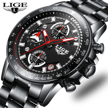 LIGE Brand Mens Watches Business Quartz Watch Men Stainless Steel Waterproof Clock chronograph sport watch Relogio Masculino+B sinobi full stainless steel business men watches chronograph quartz watch color rotatable bezel white number relogio masculino