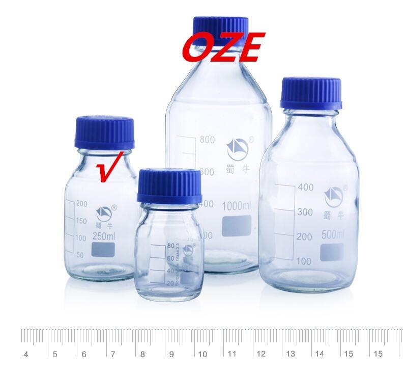 1PCS Graduated Round Glass Reagent Bottle 250ml Blue Screw Cap Screw On Cover 250ml glass reagent bottle with blue screw cap transparency laboratory reagent bottle