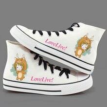b7a28ddf95 Japão Anime LoveLive! Sapatas de Lona ocasionais Preppy Lolita Estudante  LoveLive! plimsolls Sapatos De