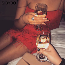 SIBYBO Tassel Strapless Sexy Two Pieces Set  Bandage Dress 2018 Red White Summer Women Dress Elegant  Mini Club Party Dresses