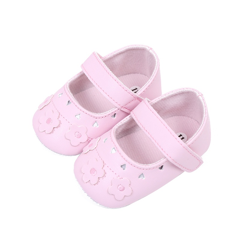 Princess Baby Girls Shoes PU Leather Hollow Out Flower First Walkers Soft Sole Shoes