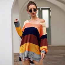 Лучший!  Женская верхняя мода вязать свитер с радужными полосками цвет соответствия свободные с длинным рука