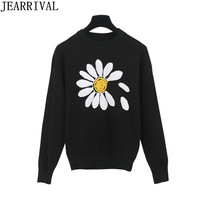 Brand Fashion Women Sweater 2018 New Spring Fashion Sun Flowers Pattern Pullovers Casual Knitted Sweaters Jumper Tops Pull Femme