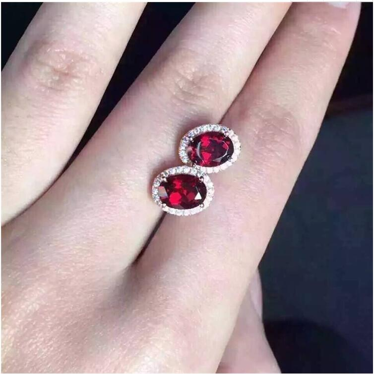 Garnet stud earring 925 sterling silver Natural real garnet Free shipping For men or women star style garnet stud earring free shipping natural garnet 925 sterling silver fine gems jewerly