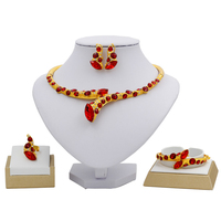 2018 Fashion Birthday Party 24 Gold Jewelry Sets Red Crystal Necklace Ring Earrings for Women Italy Charm Jewelry Accessories