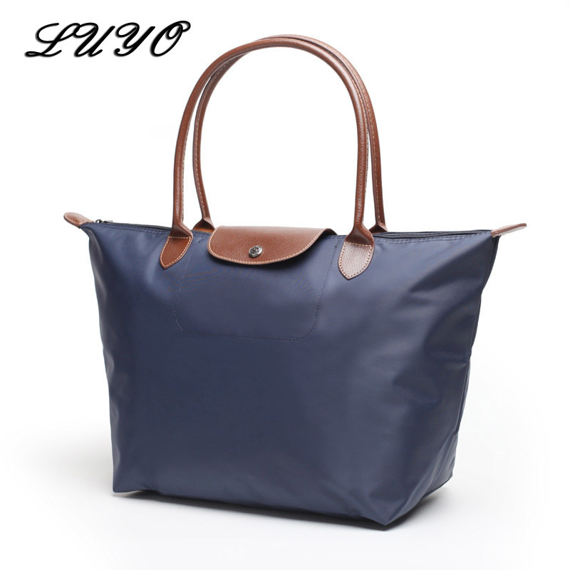 LUYO Oxford Dumpling Large Capacity Long Shoulder Handbag Shopping Tote Bag Beach Top-handle Bags Designer Handbags Champagn