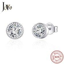 JOVO sterling 925 silver Trendiga kvinnor Round Stud örhängen smycken stor Cubic zirkon personlighet Fina smycken för kvinna